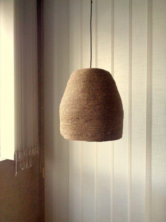 Basket Pendant Light Burlap Pendant Light Rustic Lampshade