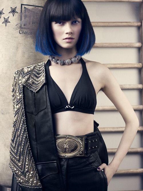 Bikini top with leather skirt + Dip dyed dark hair