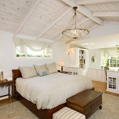 Perfect Beach Cottage Chic Bedroom With Custom Built In Office   Traditional    Bedroom   Los Angeles   Susan Jay Design