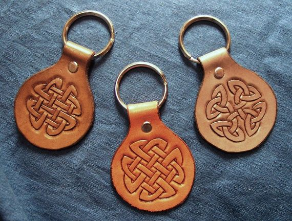 Tooled Leather MXS Key Fob Chain Ring Celtic Knot by HermitsGarden, $11.00