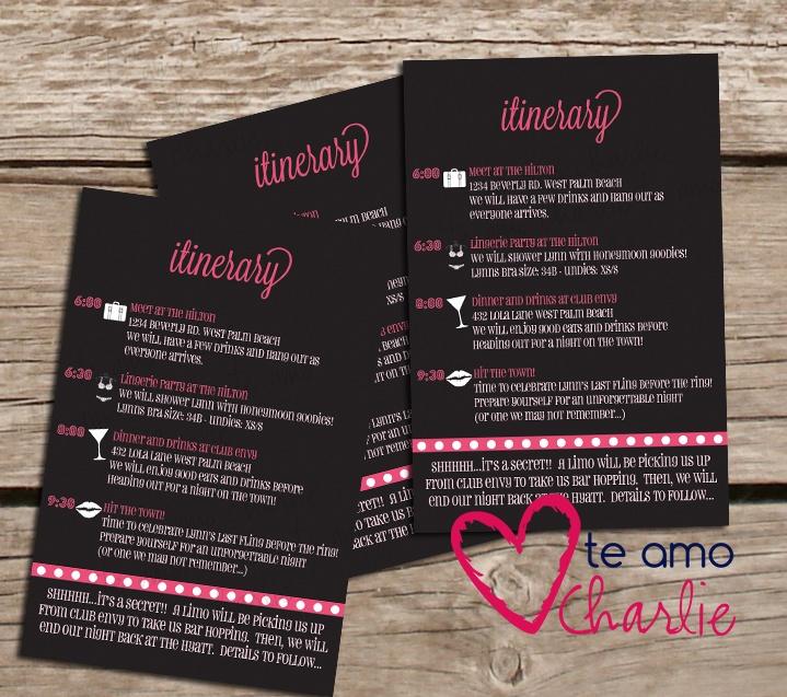 bachelorette party invitations   matching itinerary