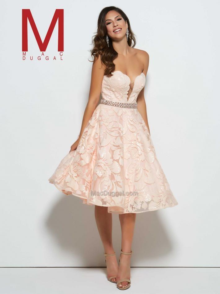 Sweetheart, blush, lace, knee length, belted dress. Short Prom Dress w/ Plunging Neckline | 80596M Mac Duggal. https://www.macduggal.com/Prom-Dresses/Mac-Duggal-Prom/82517M