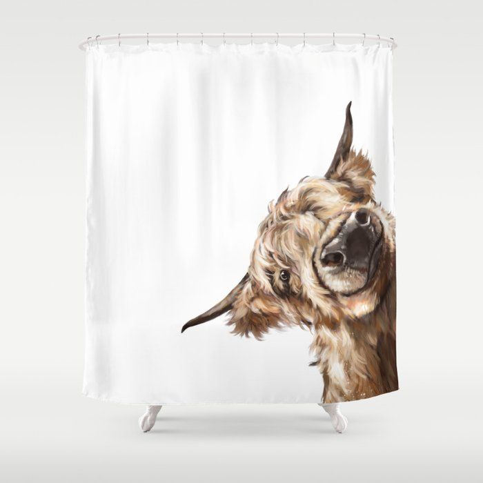 Buy Sneaky Highland Cow Shower Curtain By Bignosework Worldwide