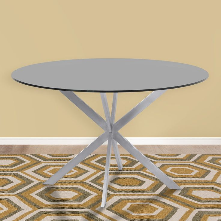 Armen Living Mystere Tempered Brushed Stainless Steel Round Dining Table