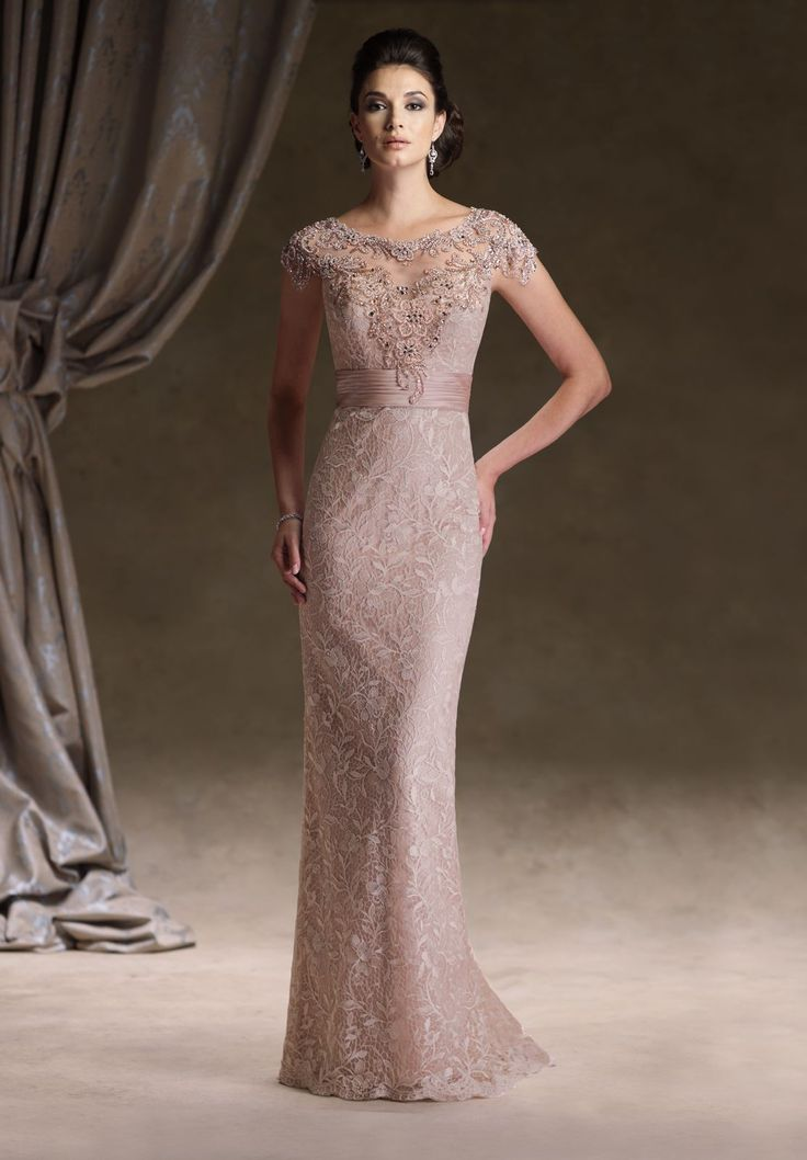 Stunning Lace Bateau Sheath Vintage Long Mother of The Bride Dress with Cap Sleeves