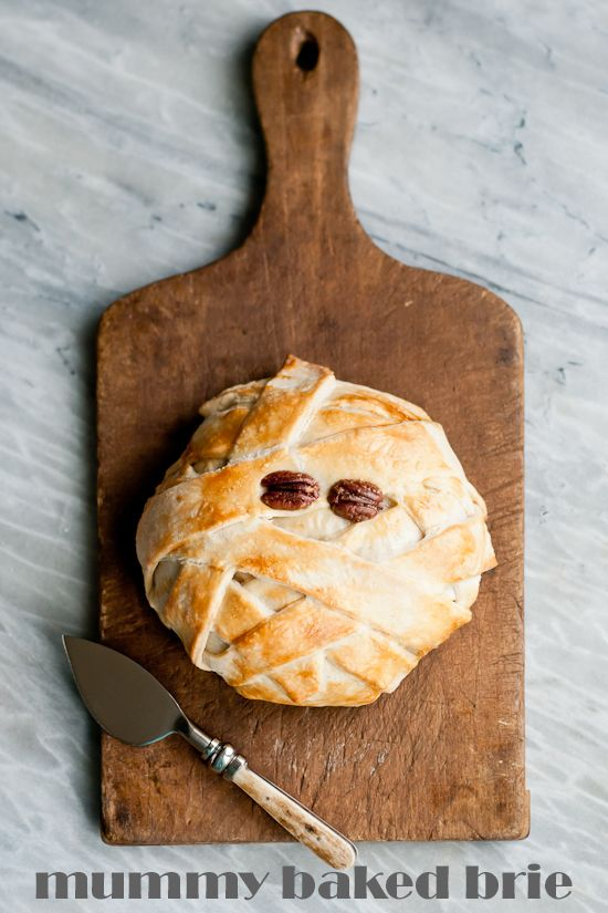 make mummy baked brie for halloween complete with step by step photos - Halloween Party Appetizers With Pictures