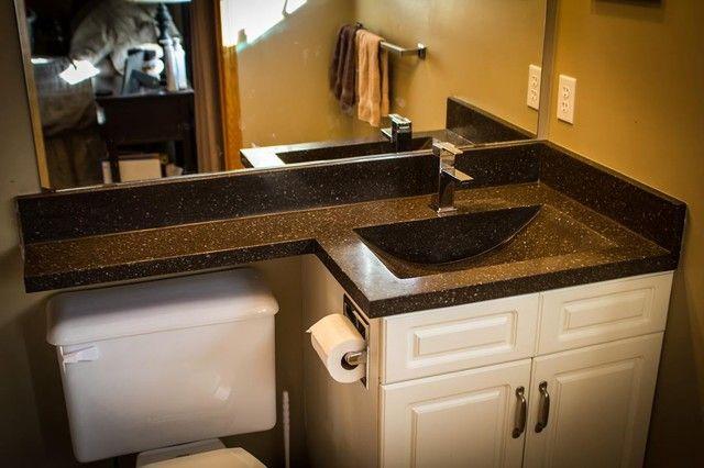 Over Toilet Ideas Bathroom: Bathroom Vanity Top Extended Over Toilet