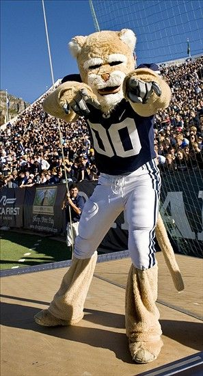 BYU Women's Basketball Schedule | Sept. 25, 2010; Provo, UT, USA; BYU Cougars mascot Cosmo stands atop a ...