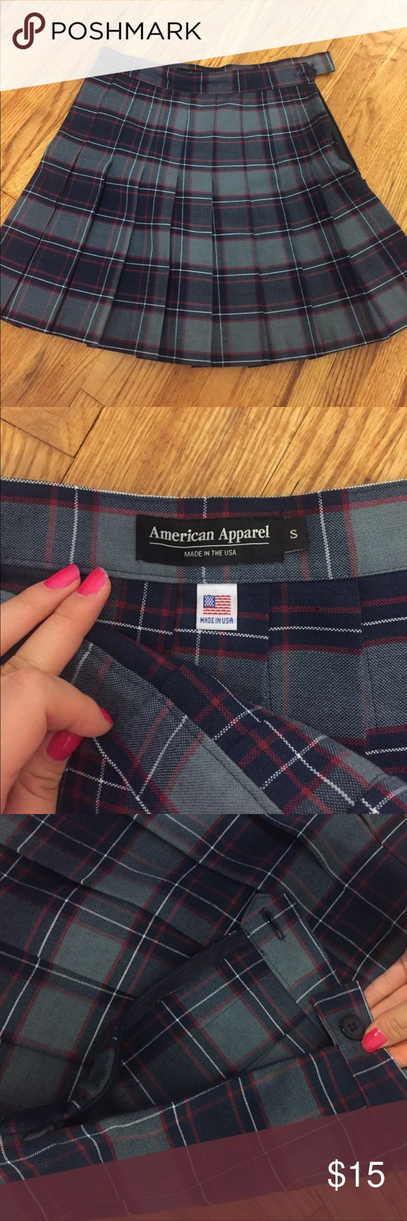 Anerican apparel plaid pleated skirt Very cute and almost new! Has button and zipper on side American Apparel Skirts