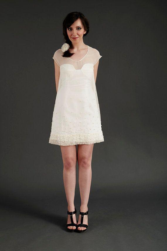Wedding dress sustainable beaded 60s style shift dress by for Shift dress for a wedding