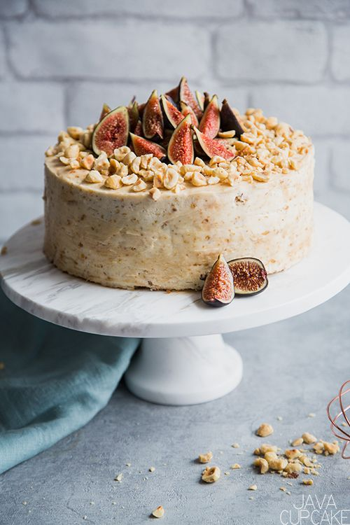 Hazelnut Fig Cake | This sophisticated Hazelnut Fig Cake is gently spiced, full of flavors including dried figs, fresh figs and dark brown muscovado sugar, and is finished with a decadent fig cream cheese icing. | The JavaCupcake Blog https://javacupcake.com