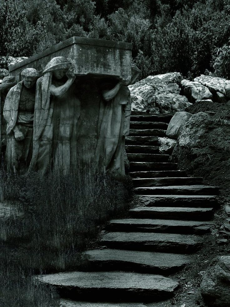 Stone funeral procession: The Journey, Stairs, Dark Beautiful, Art, Cemetery, Places, Stones, Graveyards, Stairways