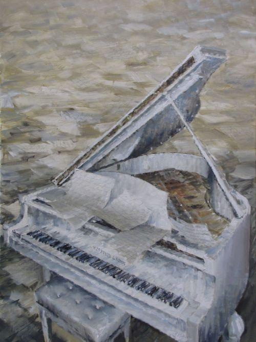 Andrea Mancini nr. 1074, Piano bianco con parole (White piano with Words) oil on canvas cm 80x60