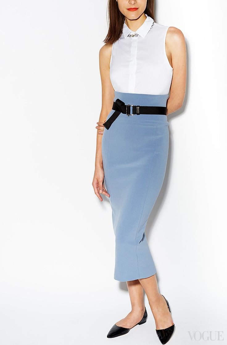 Hemlines are going dooowwwwn this fall! Start now and discover the midis stealth sexy charm.Isa Arfen sleeveless shirt, $328thecorner.comIsa Arfen high-waisted skirt, $855For information: isaarfen.com