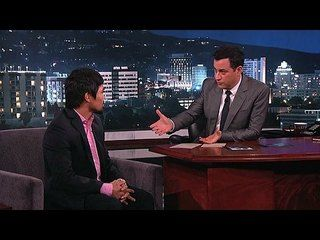 Jimmy Kimmel Live!: Bill Clinton, Manny Pacquiao: Manny Pacquiao -- Manny talks about President Clinton, politics, his wife being pregnant with their fifth child, and his upcoming fight with Timothy Bradley. -- http://www.tvweb.com/shows/jimmy-kimmel-live/season-12/bill-clinton-manny-pacquiao--manny-pacquiao