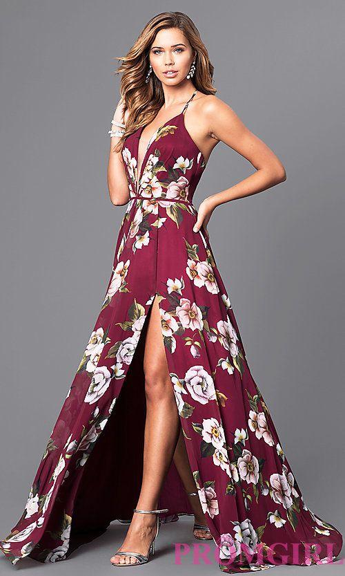 Floral V-Neck Long Corset Prom Dress by Faviana