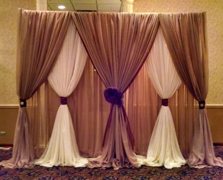 Fabric Backdrop Taupe Ivory Rosette Accents