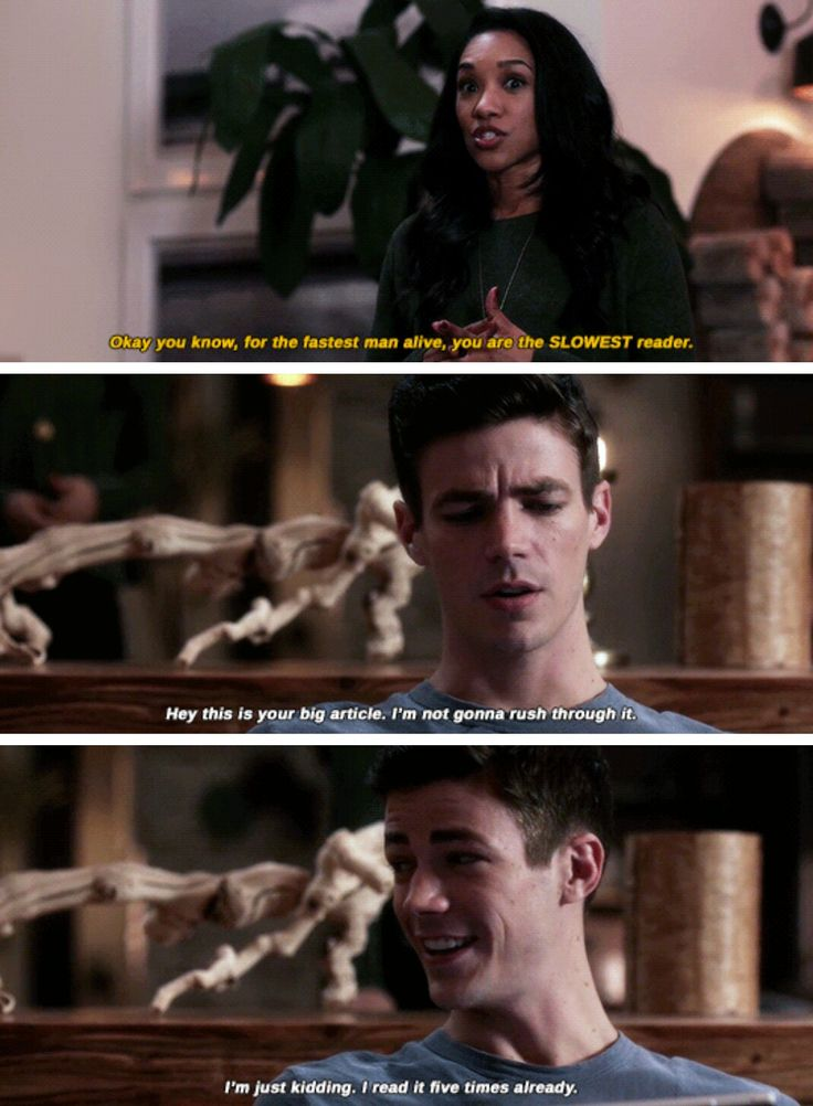 """You know, for the fastest man alive, you are the SLOWEST reader"" - Iris and Barry #TheFlash"