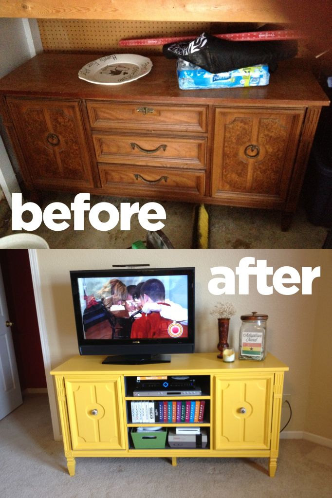 Turn an ugly buffet into a TV stand. @Carrie Honeycutt had the vision and we worked together to make it happen.