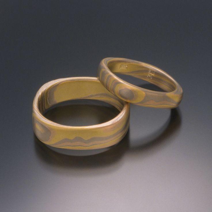 Women's Mokume Gane Ring in 18K Tri-Colored Gold in Square Band Design Ring by Steven Jacob on Mokume.com.