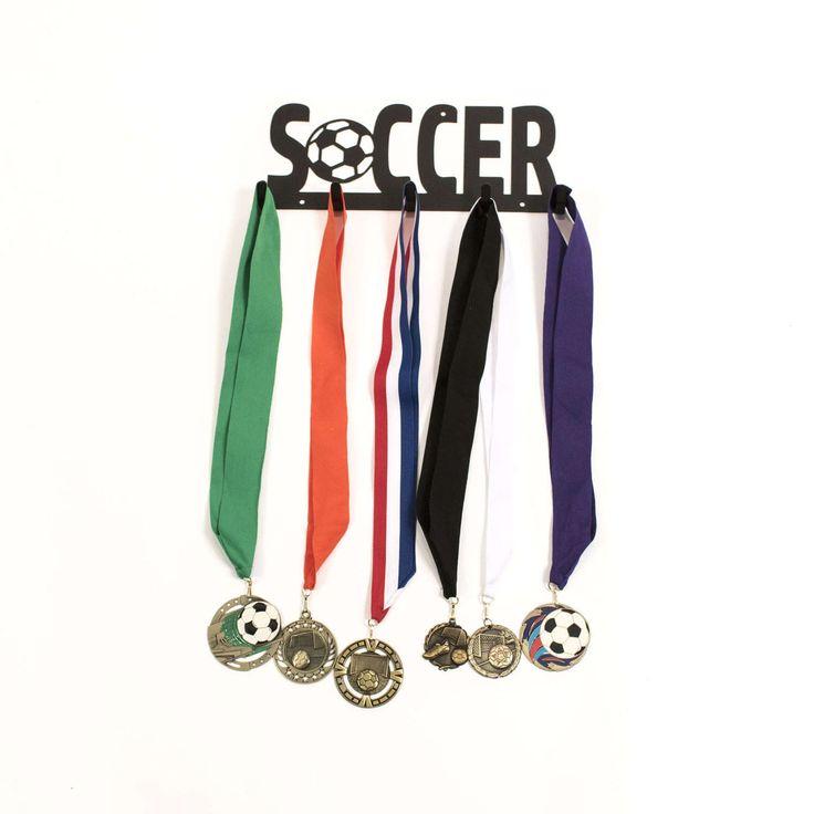 Soccer Medal Holder, Soccer Medal Display, Soccer Medal Hanger, Soccer Medals, Soccer Gift Ideas, Soccer Gift, Medal Holder, Campfire Bay by CampfireBay on Etsy https://www.etsy.com/listing/491421197/soccer-medal-holder-soccer-medal-display