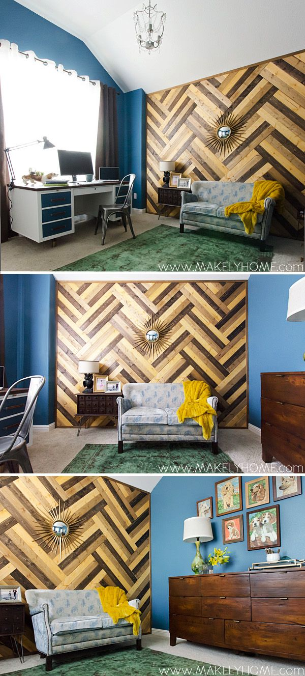 Crazy about this chevron reclaimed wood office redo! -  - Home Tour via MakelyHome.com