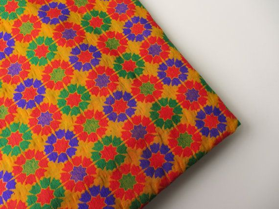 Orange Red blue green graphic flowers on orange by SilksByUmf, $14.00