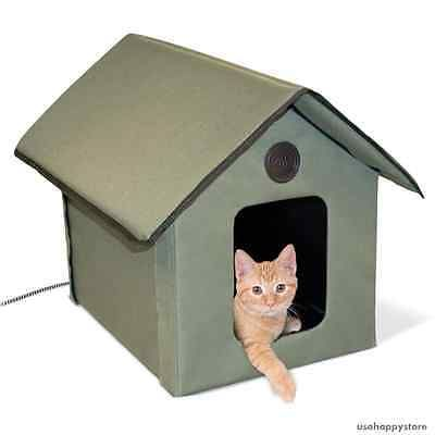 Pet Supplies: Heated Outdoor Cat House Bed Waterproof Kitty Winter Shelter Warm Pet Supplies BUY IT NOW ONLY: $60.39