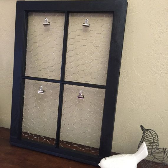 4 pane vintage antique window frame in satin gloss black with wire backing and metal clips