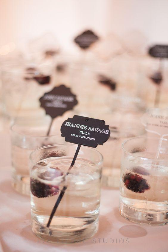 Escort card cocktail...St. Germaine, club soda, splash of prosecco & blackberry. Photo by Ira Lippke Studios. Food Fun and Love: Celebrating Love & Beauty: Alicia & Joels Wedding