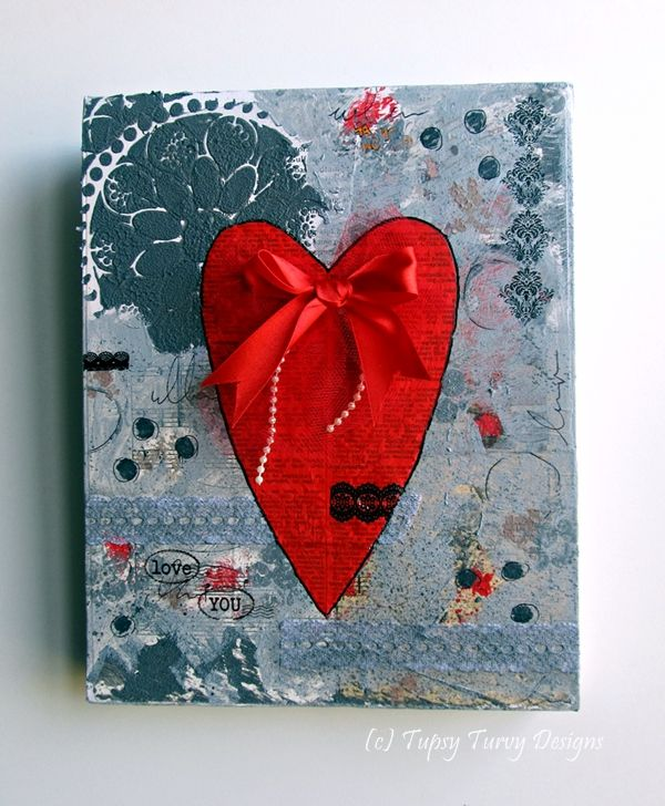 Grey and red mixed media art work - heart, wedding, love, bow.