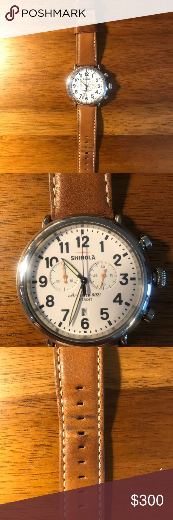 "Shinola The Runwell Chrono 47MM In good shape, worn for about a year. No scratches, just some minor use on the leather straps. ""Driven by an Argonite 5021 high-accuracy quartz movement that propels the hours, minutes, date indicator, stopwatch function, and multiple sundials"".  The watch case is stainless steel with double curve sapphire Chrystal's. The dial is white with super-luminova hands and indices Shinola Accessories Watches"