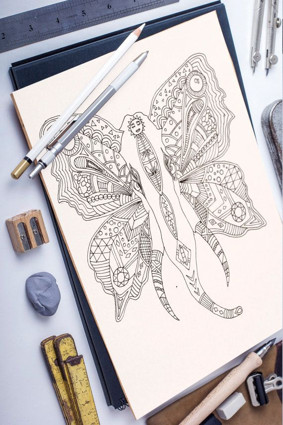 Flying Elephant adult coloring page