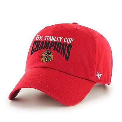 Chicago Blackhawks 2015 NHL Stanley Cup 6x Champions Red 47 Brand Adj Hat Cap