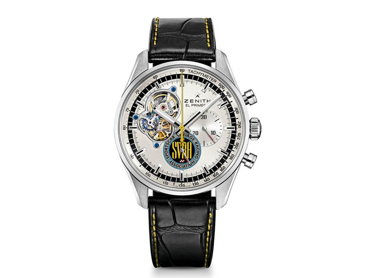 La marca de relojes Zenith hizo equipo con la Sportcar Vintage Racing Association (SVRA) para ser en 2016 el reloj oficial.