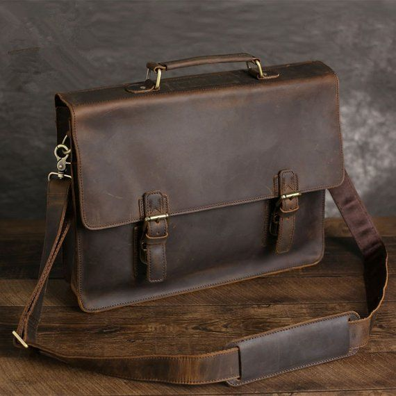 c778b5d1ac21 Full Grain Leather Briefcase Messenger Bag Leather Laptop Bag ...
