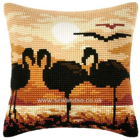 Buy Flamingo Silhouette Cushion Front Chunky Cross Stitch Kit Online at www.sewandso.co.uk