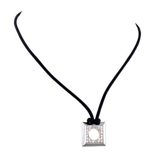 Sterling Silver Open Square Necklace with Pave Cubic Zirconia on Black Cotton Cord, Adjustable Length, Rhodium Finish Avend Concepts. $45.99. Save 54% Off!
