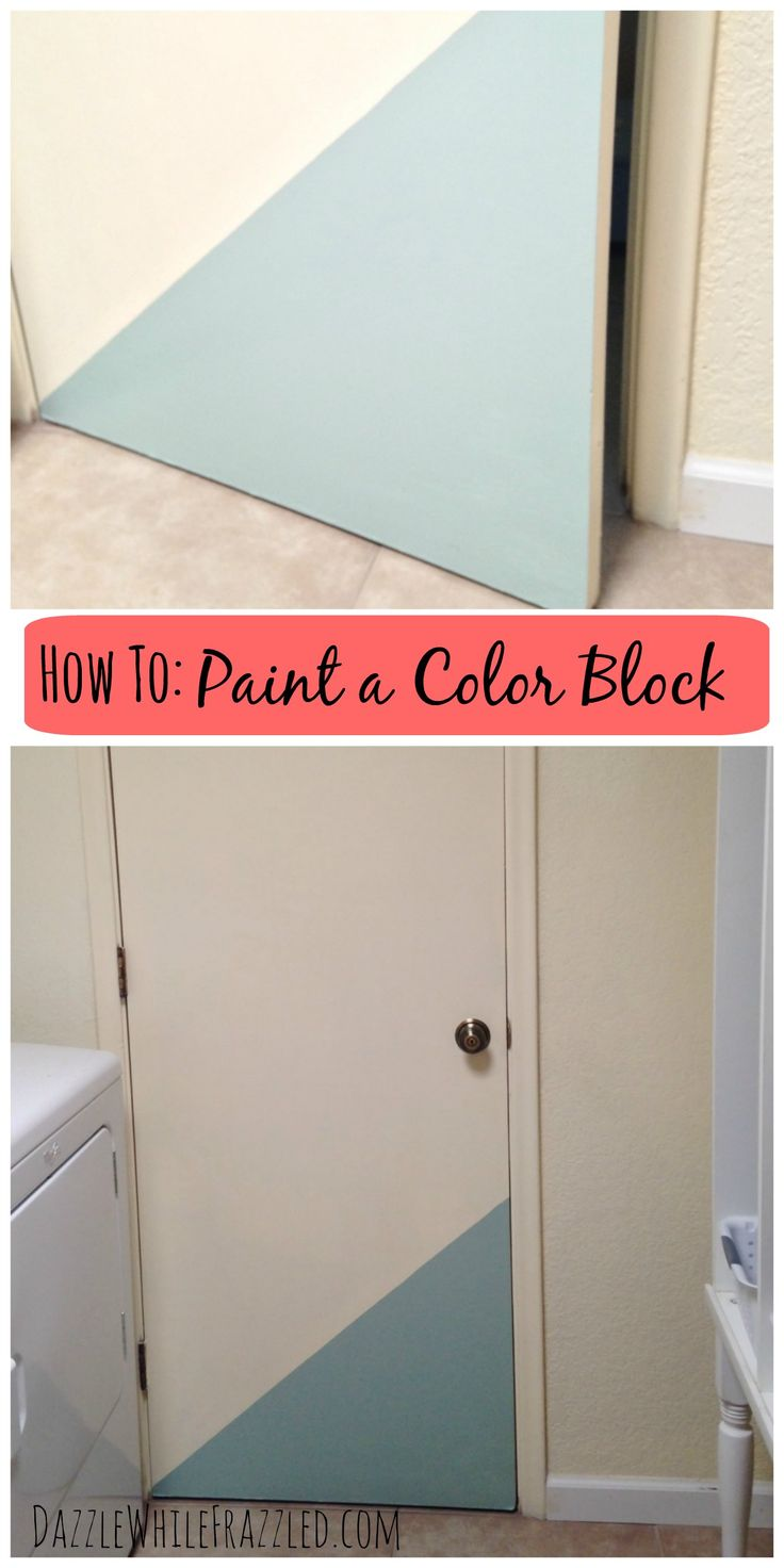 How to easily add a color block accent to an otherwise bland and boring door. Grab your painter's tape, paint and brush and set to accenting an interior door / via DazzleWhileFrazzled blog