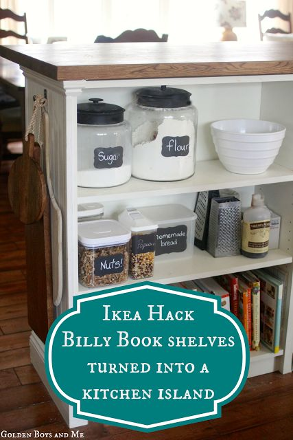 Golden Boys and Me: Kitchen Island {Ikea Hack} using a bookshelf, moulding and butcher block top