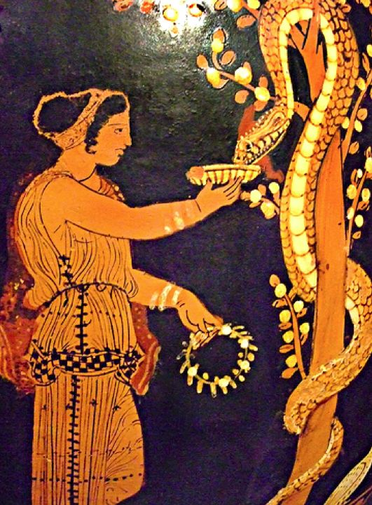 A nymph (Hesperid) in the Garden of the Hesperides, the Greek Version of Eden, tends to the Genesis Serpent entwined about the apple tree. 350 BC.