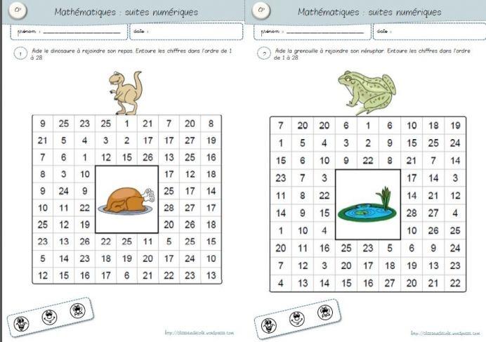 Maths - exercice en autonomie sur des suites de nombres