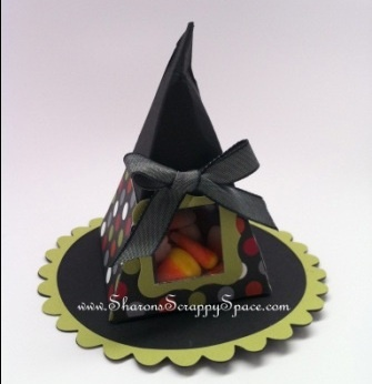 Stampin Up Petal Cone Die Halloween witch hat.  Base of hat!