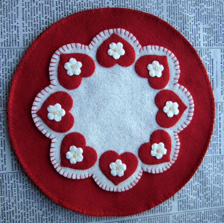 Wool Felt Hearts and Flowers Candle Mat  Penny Rug.