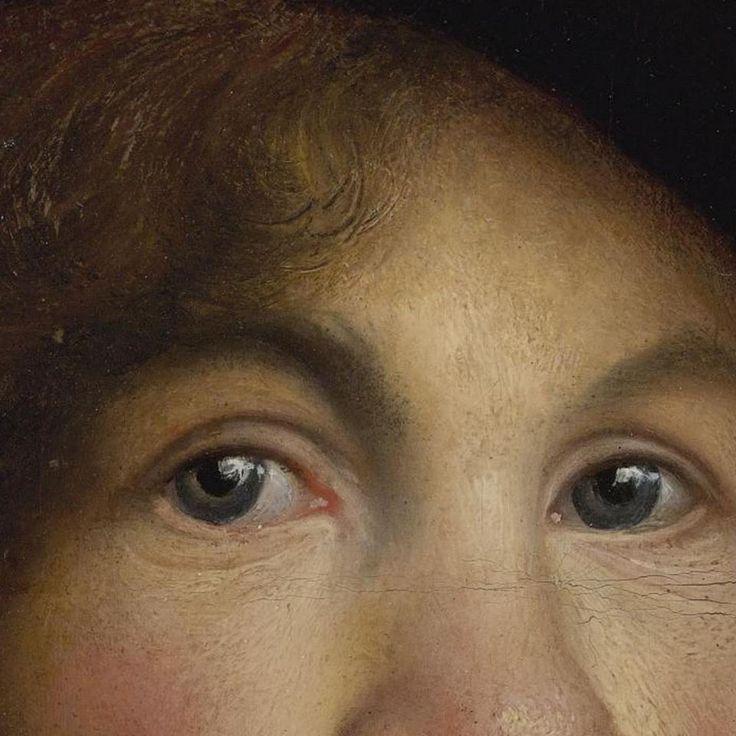 Particolari di opere, seconda parte. Isaac de Jouderville: Ritratto di giovane uomo (forse Rembrandt?). Olio su carta poi su tela, del 1629-31. Cm 27,9 x 24,2. Collezione privata. De Jouderville fu allievo del giovane Rembrandt e lo seguì da Leida ad Amsterdam restando vicino al suo maestro, per aiutarlo nelle molte commissioni di opere che Rembrandt riceveva. I capelli mossi sono realizzati sia con il colore che con il graffio, cioè asportando il colore fresco con la punta del pennello.