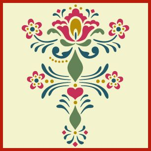 rosemaling pattern 9 stencil, Swedish kurbits, Norwegian decorative painting