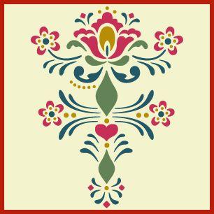 rosemaling pattern 9 stencil, Swedish kurbits, Norwegian decorative painting