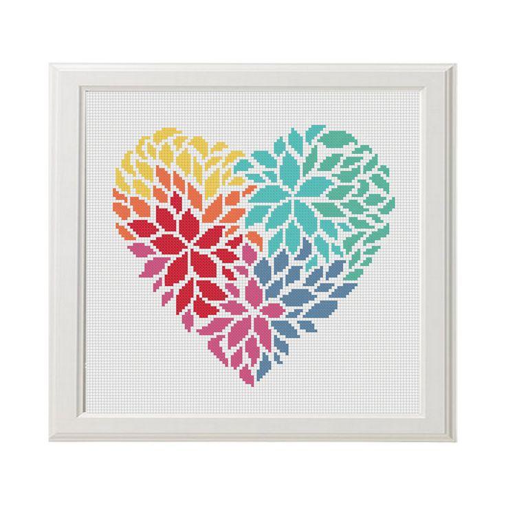 Çiçek kalp çapraz dikiş deseni AnimalsCrossStitch tarafından Aşk