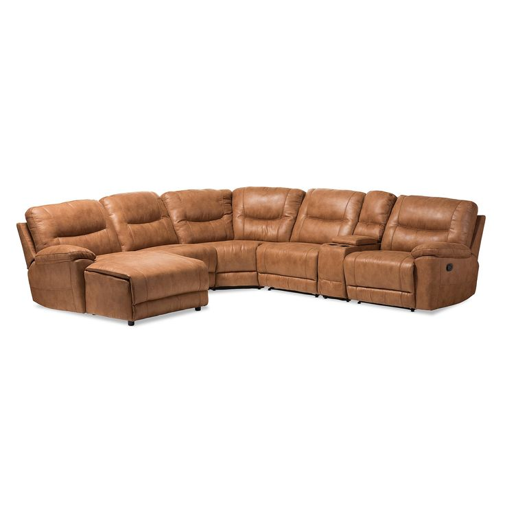 Mistral Modern and Contemporary Palomino Suede 6 - Piece Sectional with Recliners Corner Lounge Suite - Light Brown - Baxton Studio
