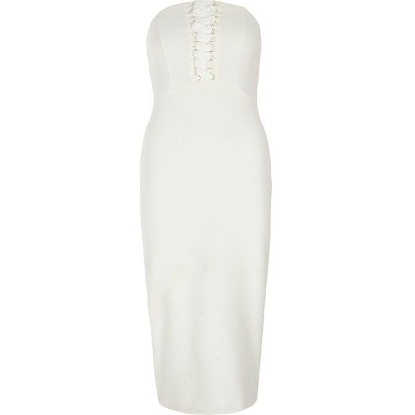 River Island White bandeau lace-up bodycon dress ($100) ❤ liked on Polyvore featuring dresses, bardot & bandeau dresses, white, women, strapless bodycon dress, strapless cocktail dresses, bodycon dress, white bodycon dresses and white corset